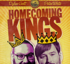 Poster of two men wearing illustrated crowns with text above that says, 'Homecoming Kings.'