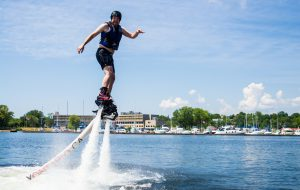 Try flyboarding with dad this Father's Day in the Bay of Quinte!