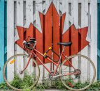 Bike in front of Canadian flag