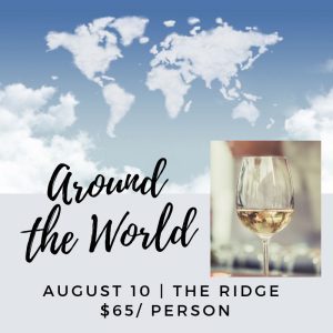 Poster for Around the World wine tasting at Closson Chase Vineyard