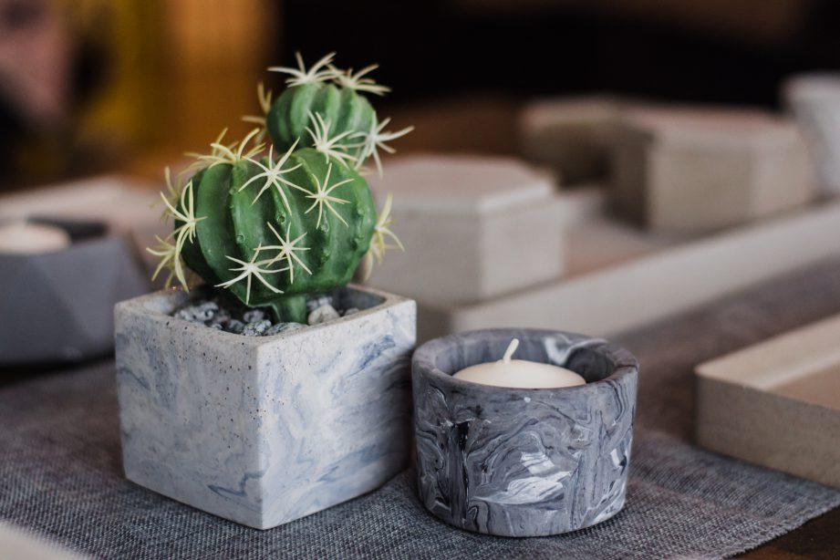 Ang's designs can function as a plant pot or candle holder. Concrete and Vines.
