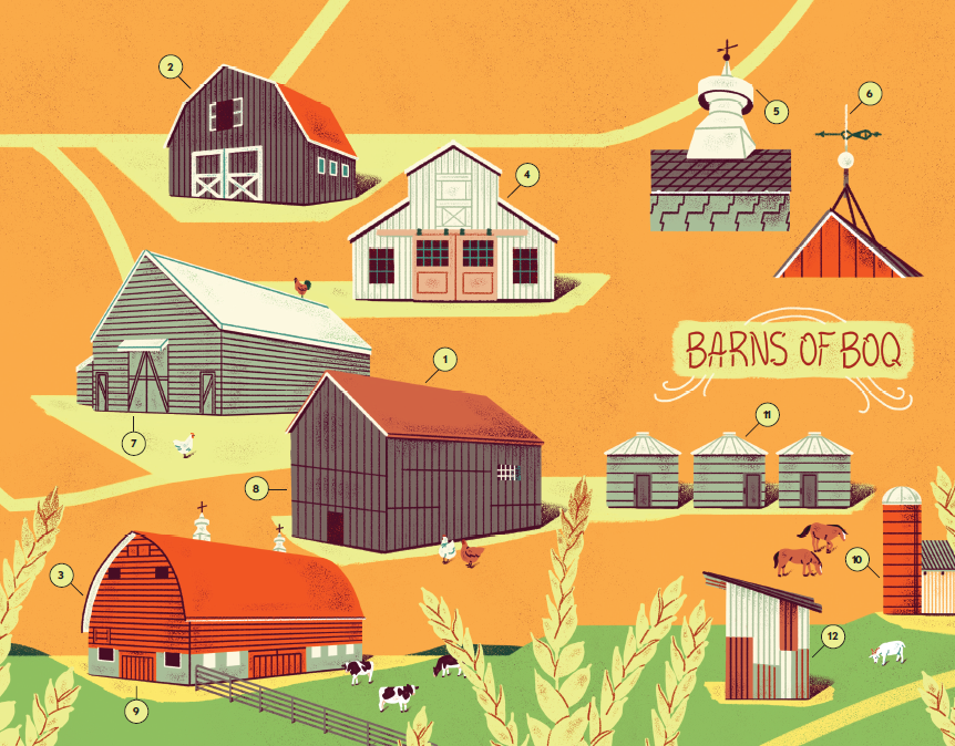 "Illustrations of barn types and accessories on an orange background with the title ""Barns of Bay of Quinte."""