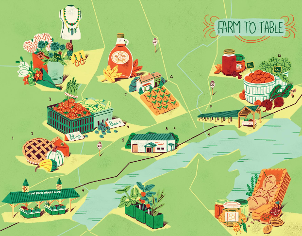 illustrated map of bay of quinte farmers' markets and stands