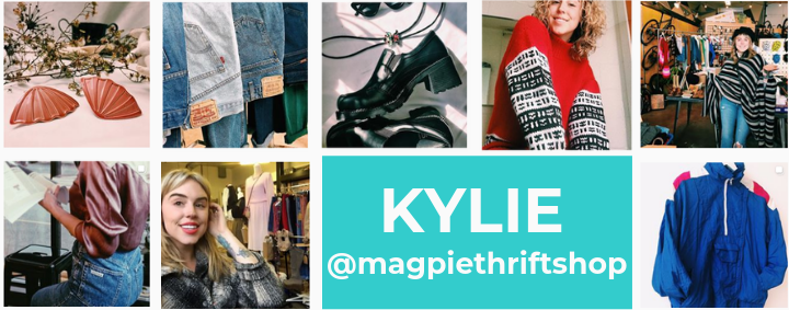A grid of photos relating to Magpie Thrift Shop, a local thrifting business.