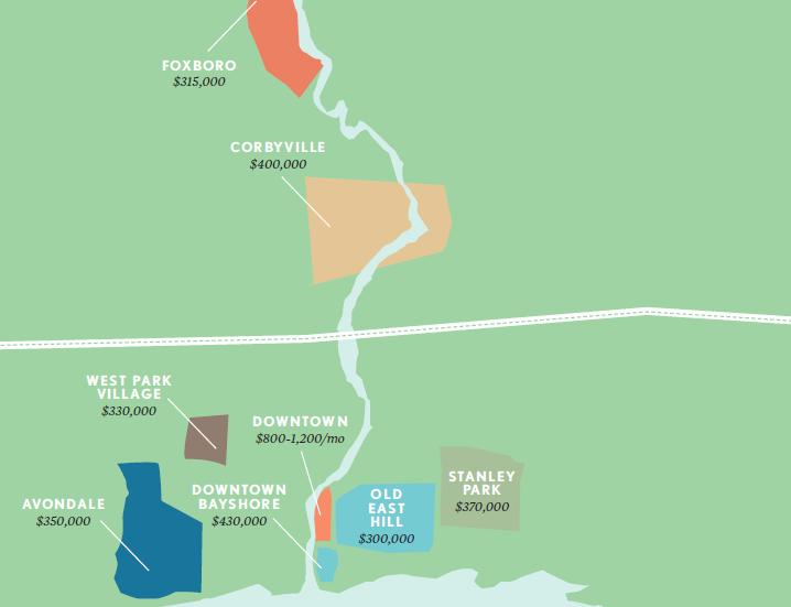 Illustrated map of neighbourhoods in Belleville.