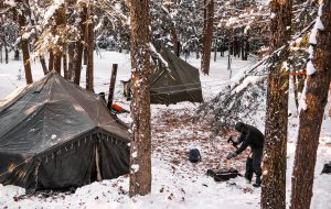 A photo of winter camping, an example of things to do this January in Bay of Quinte.