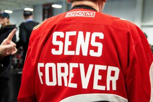 The back of a Belleville Senators jersey