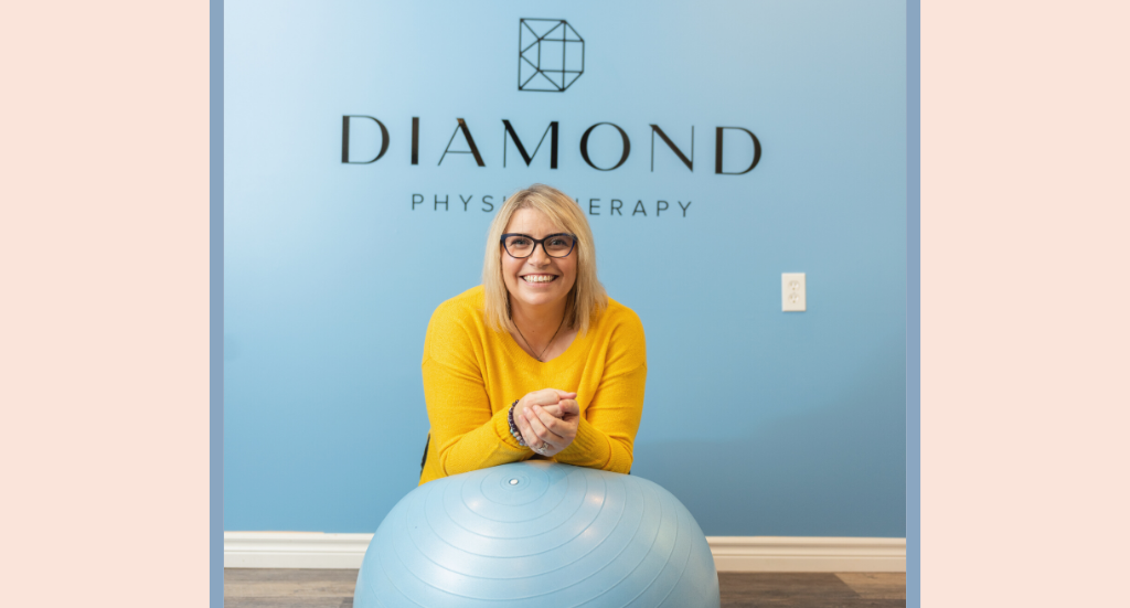 A woman leaning on an exercise ball in front of a blue wall with text: Diamond Physiotherapy