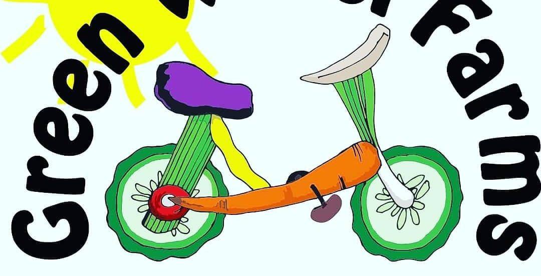 Text: Green Wheel Farms Bicycle Powered Urban Farming