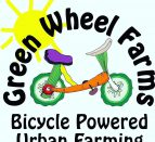 Text: Green Wheel Farms Bicycle Powered Urban Farming