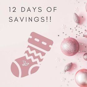 """A pink square with Christmas ornaments, a stocking and text: """"12 days of savings!!"""""""
