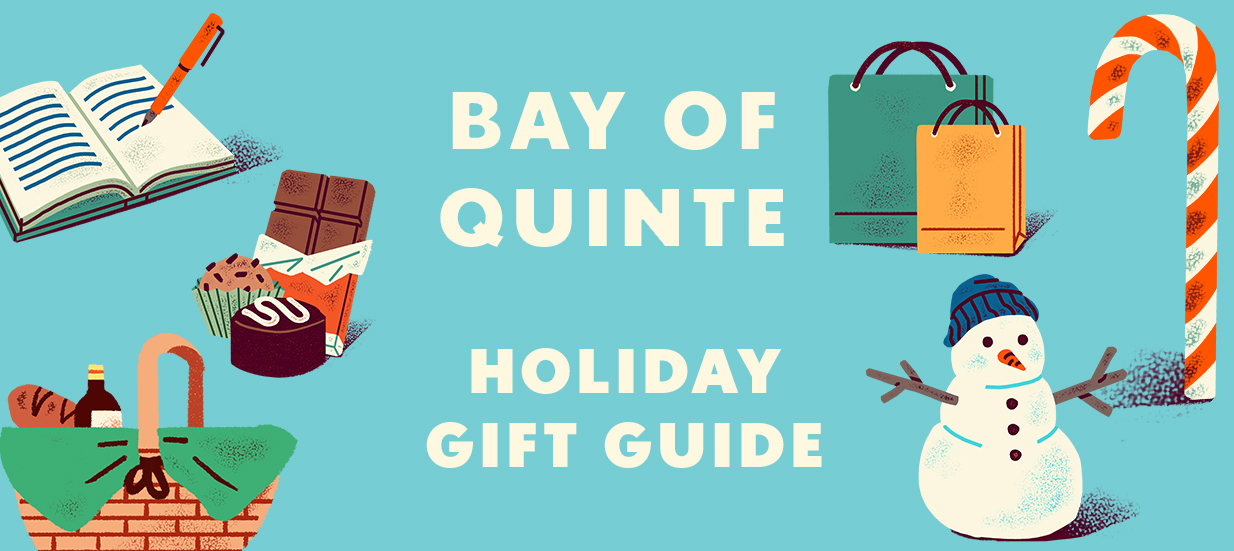 A blue background with illustrated images of chocolate, a snowman, candy cane and shopping bags, with text in the middle: Bay of Quinte Holiday Gift Guide
