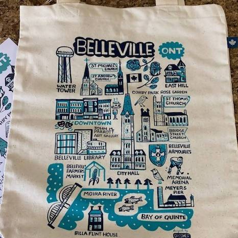 A canvas tote bag with blue illustrations of icons in the city of Belleville. We asked three locals to share their picks for gifts from local businesses! Head to our blog for our Bay of Quinte Holiday Gift Guide.