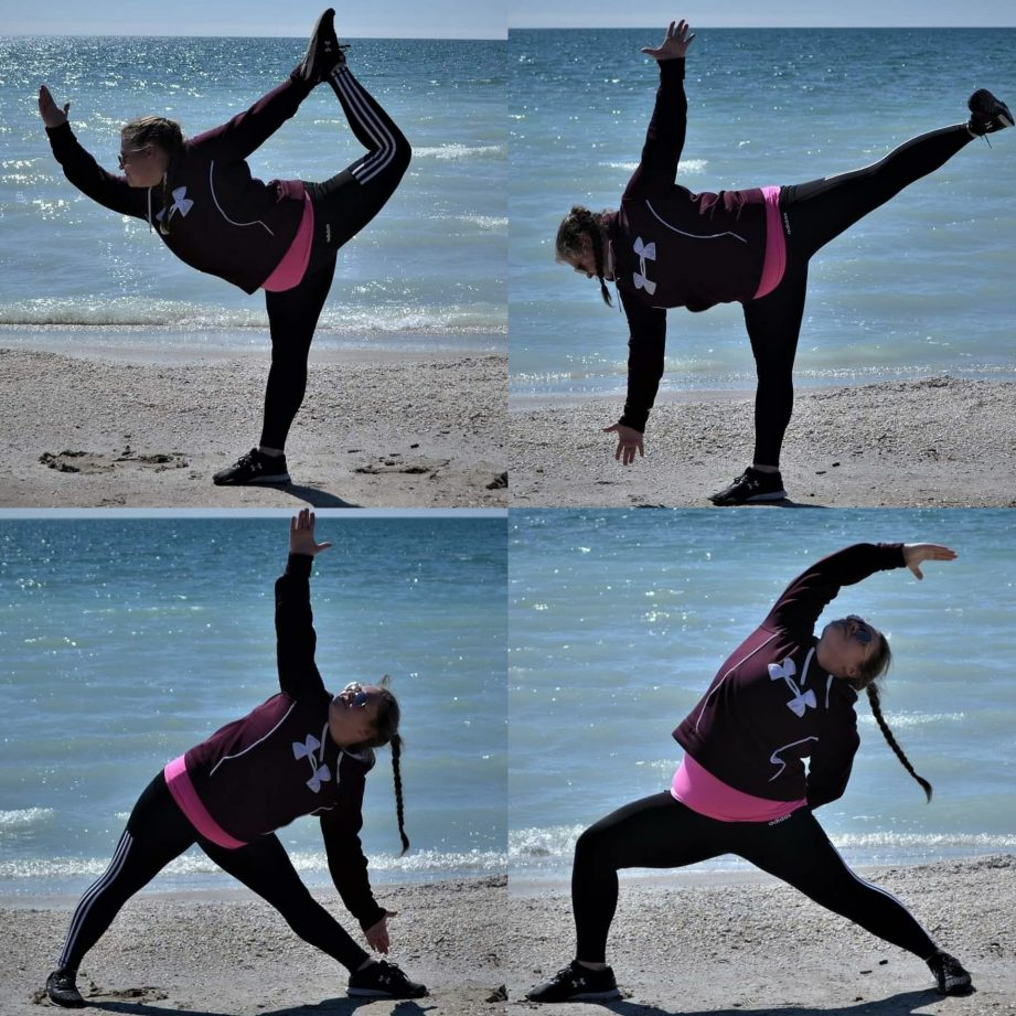 Four images, each of a person doing a yoga pose on a beach.