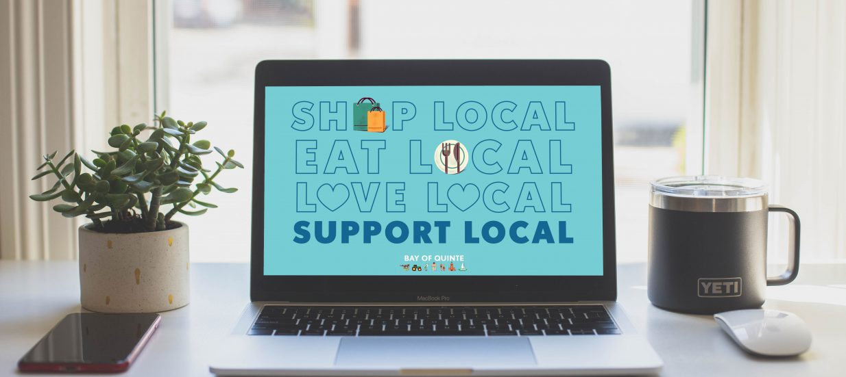 Computer screen that says support local