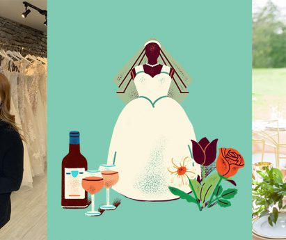 Three images side by side. A person standing next to a mannequin in a wedding dress. Illustration of a wedding dress, wine and flowers. A person standing outside behind a table with flowers.