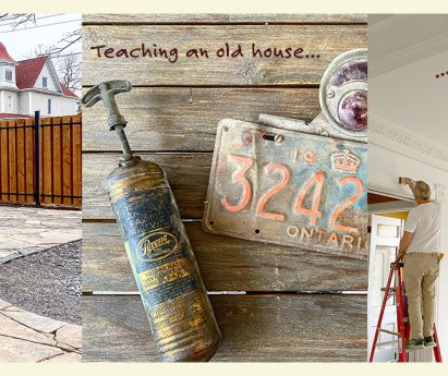 Three photos side by side. A stone patio with shrubs and a fence. An old fire extinguisher and vintage licence plate. A person on a ladder painting a white room.