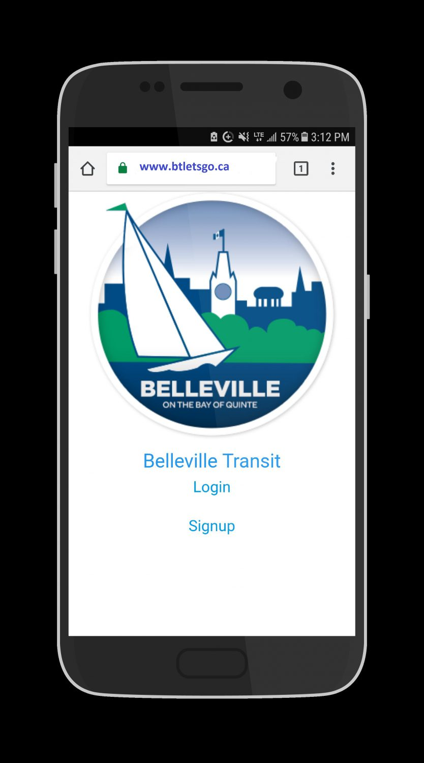 A black cellphone. On the screen there is a white background, logo for the City of Belleville and text below: Belleville Transit, log in or sign up.