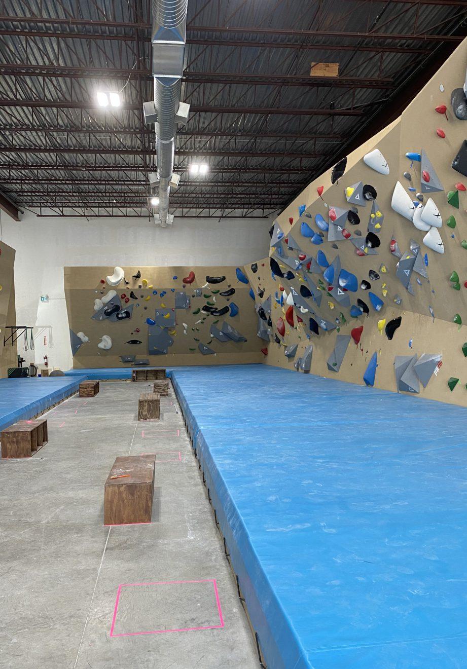 Bouldering walls at The Boiler Room.