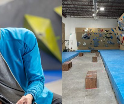 Two images side by side. A person wearing a white hat and a blue jacket crouching down. A bouldering gym with climbing walls.