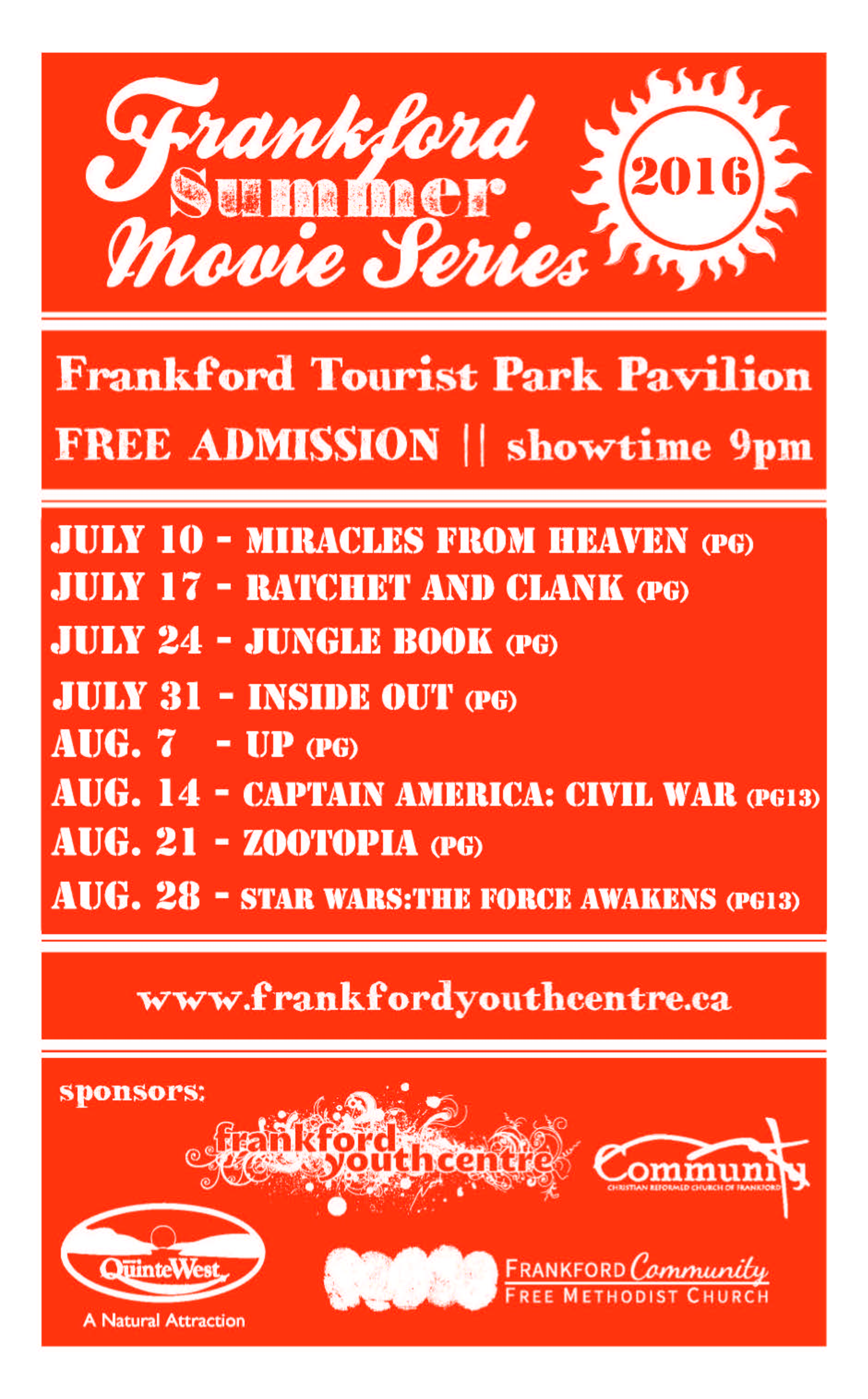 Frankford Summer Movie Series - Bay of Quinte Tourism