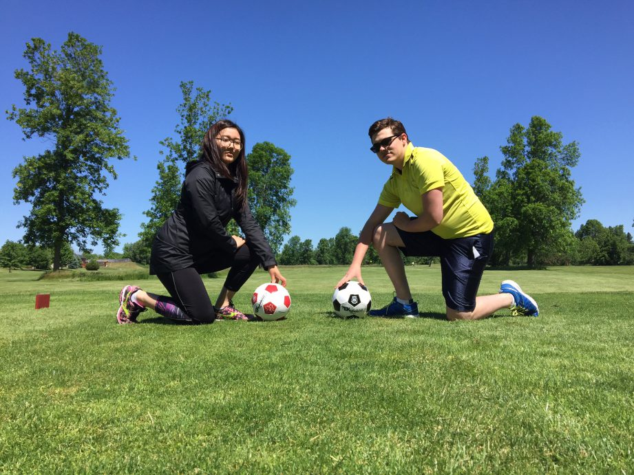 Summer students at the City of Quinte West try their kicks at FootGolf.
