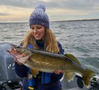 Ashley Rae with a Fall Walleye Caught on the Bay of Quinte