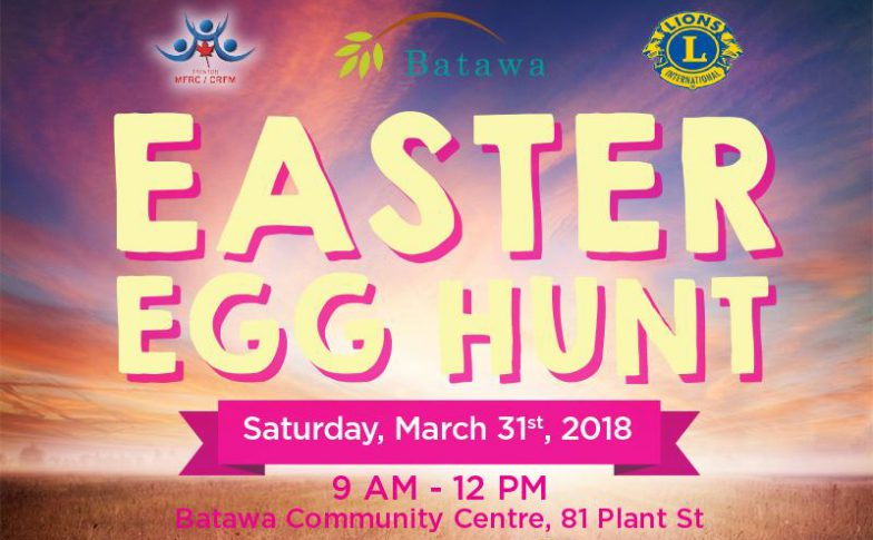 Easter in the Bay of Quinte Event Poster for Batawa Ski Hill Easter Egg Hunt on Saturday, March 31st 2018
