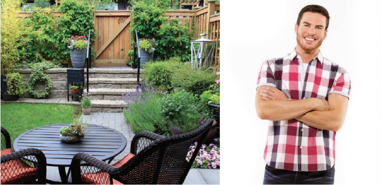 Photo of Brian McCourt from HGTV's Backyard Builds beside a picture of a designed backyard who will be at the Quinte Home & Lifestyle Show.