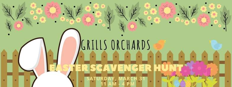Easter in the Bay of Quinte event at Grills Orchard on March 31st poster with illustrated flowers and bunny ears.