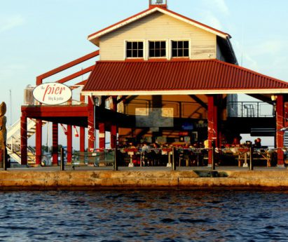 A view of the patio at Meyers Pier from the water