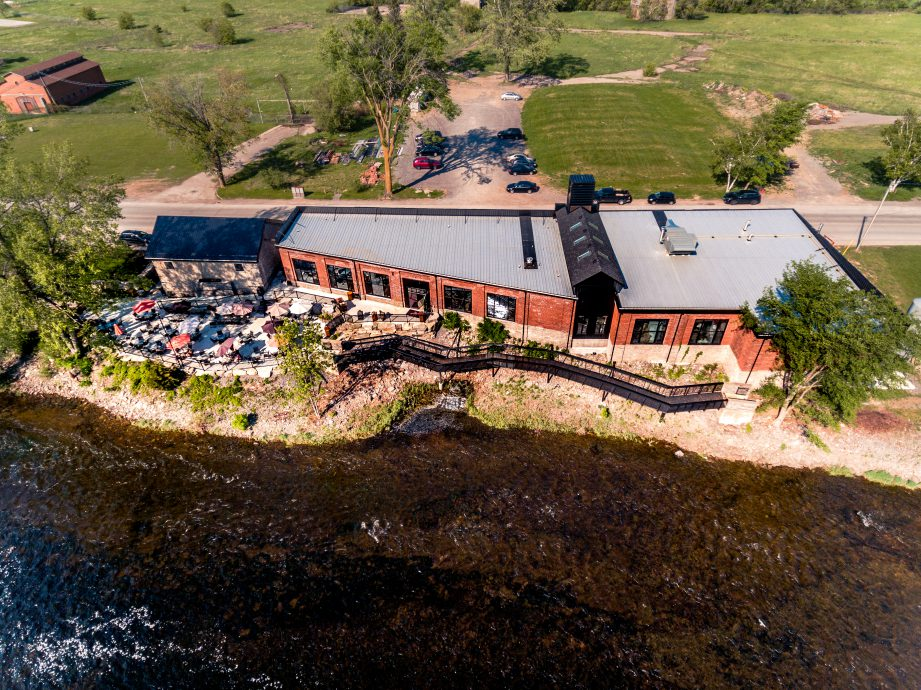 Aerial view of the patio at Signal Brewing Company