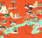 Illustrated map of the Bay of Quinte region