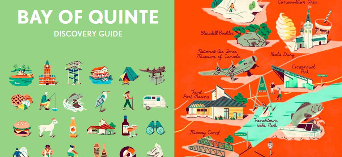 Bay of Quinte discovery guide with green background and illustrated icons