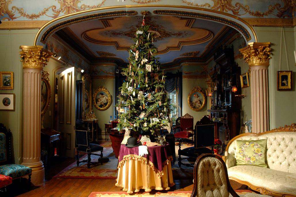 A christmas tree inside Glanmore house.