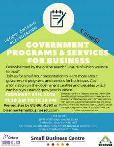 Government Program & services for Biz Small Business centre