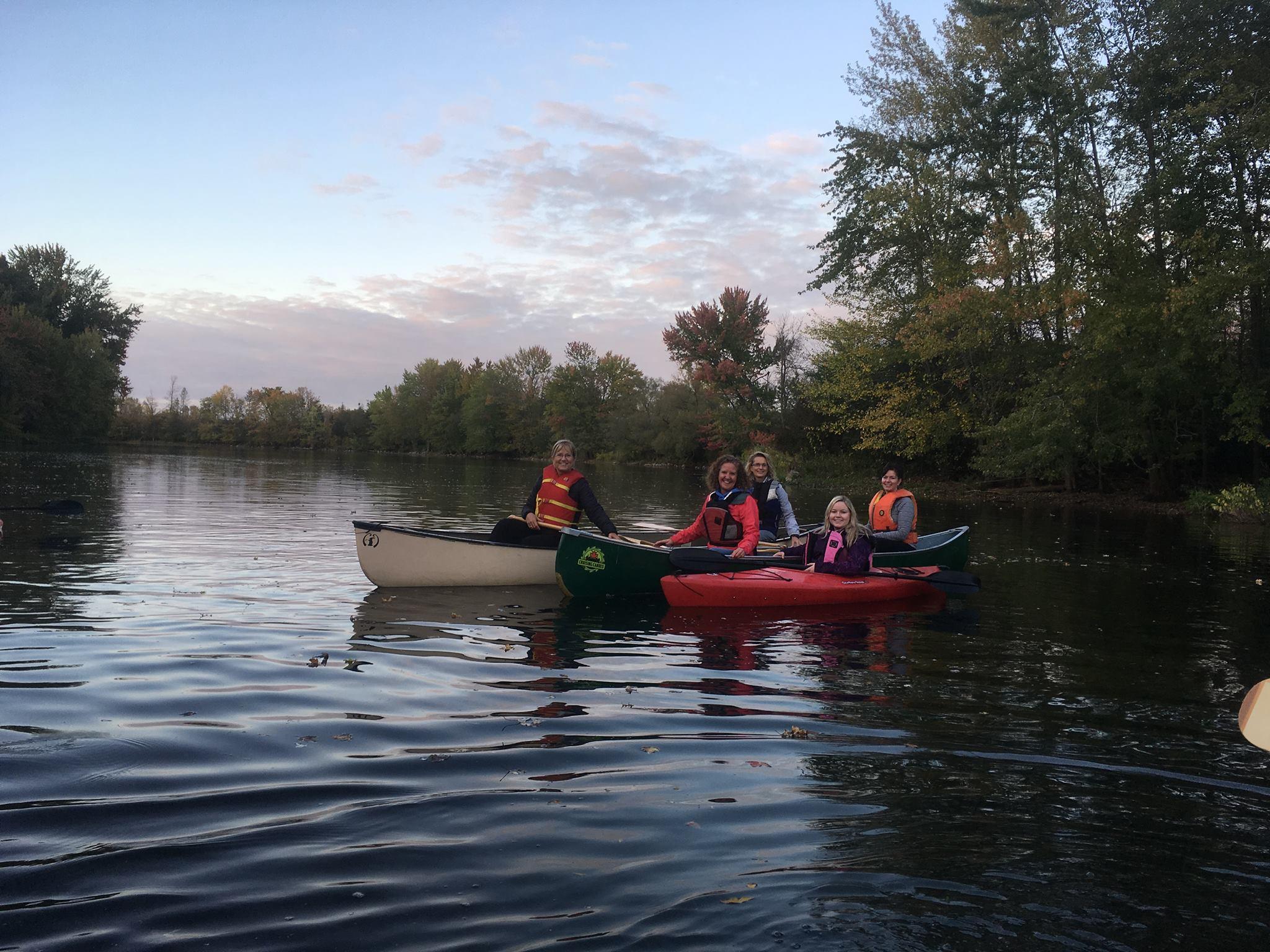 People on kayaks in Moira River