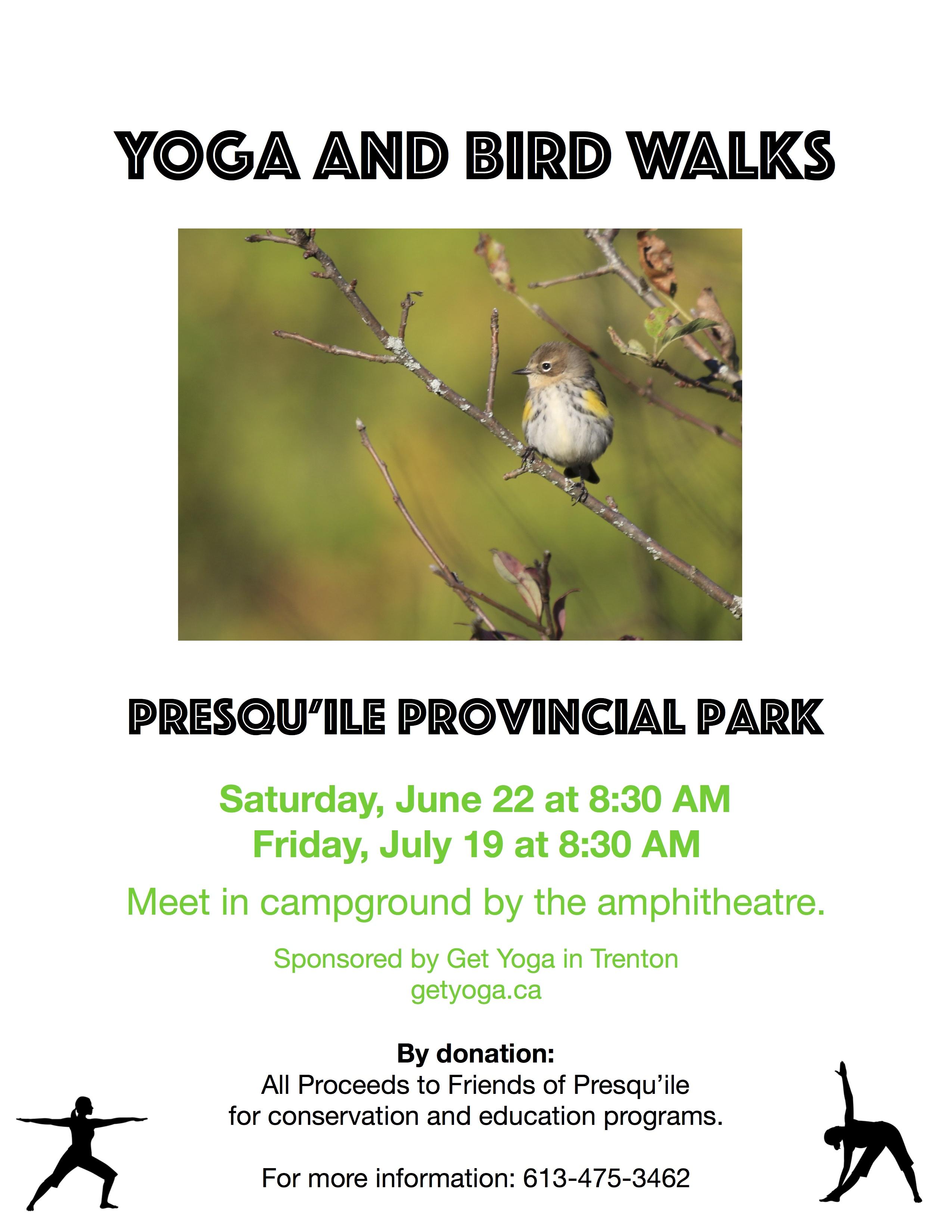 Yoga and Bird Walks poster