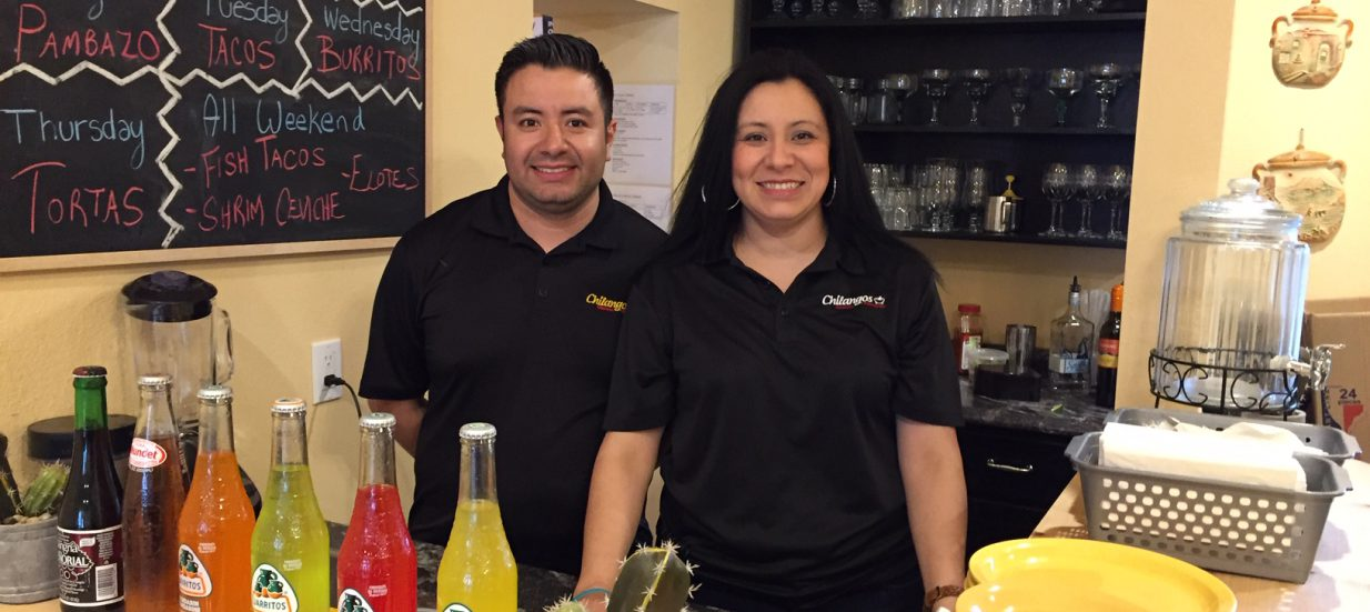 Abraham and Marlem Ramos behind the counter at Chilangos Restaurant