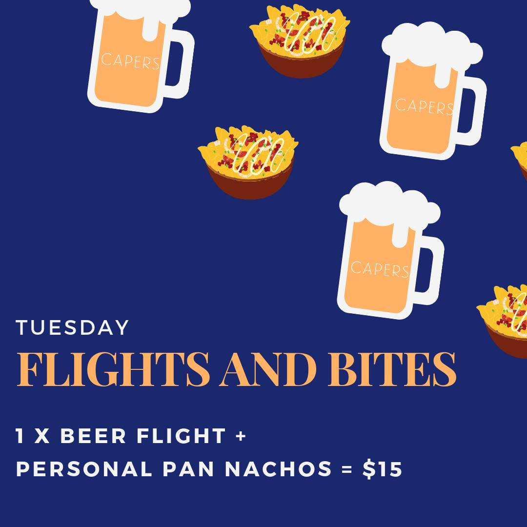 Flights and Bites at Capers Poster