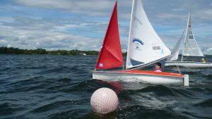 A boat on the water during the Quinte SailAbility program.