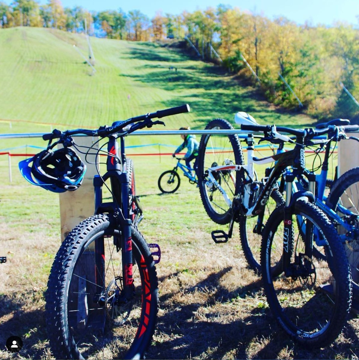 A row of bicycles at Batawa Ski Hill.