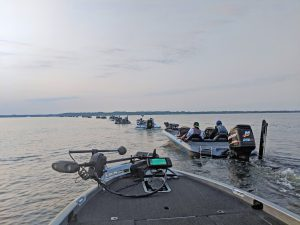 A lineup of boats on the water as the FLW Canada Cup begins.