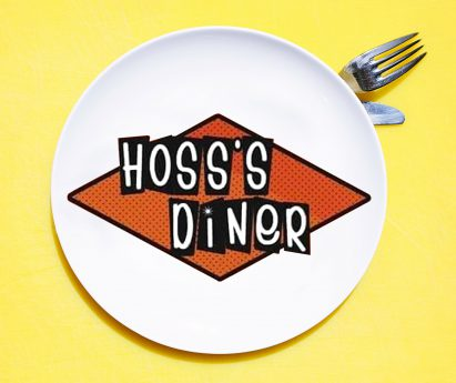 Hoss's Diner logo on plate