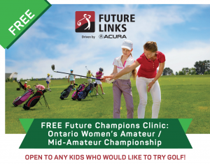 Future Champions Clinic flyer - teaching a child how to swing club