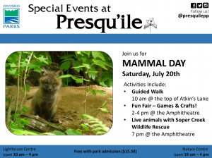 Mammal Day at Presqu'ile Schedule