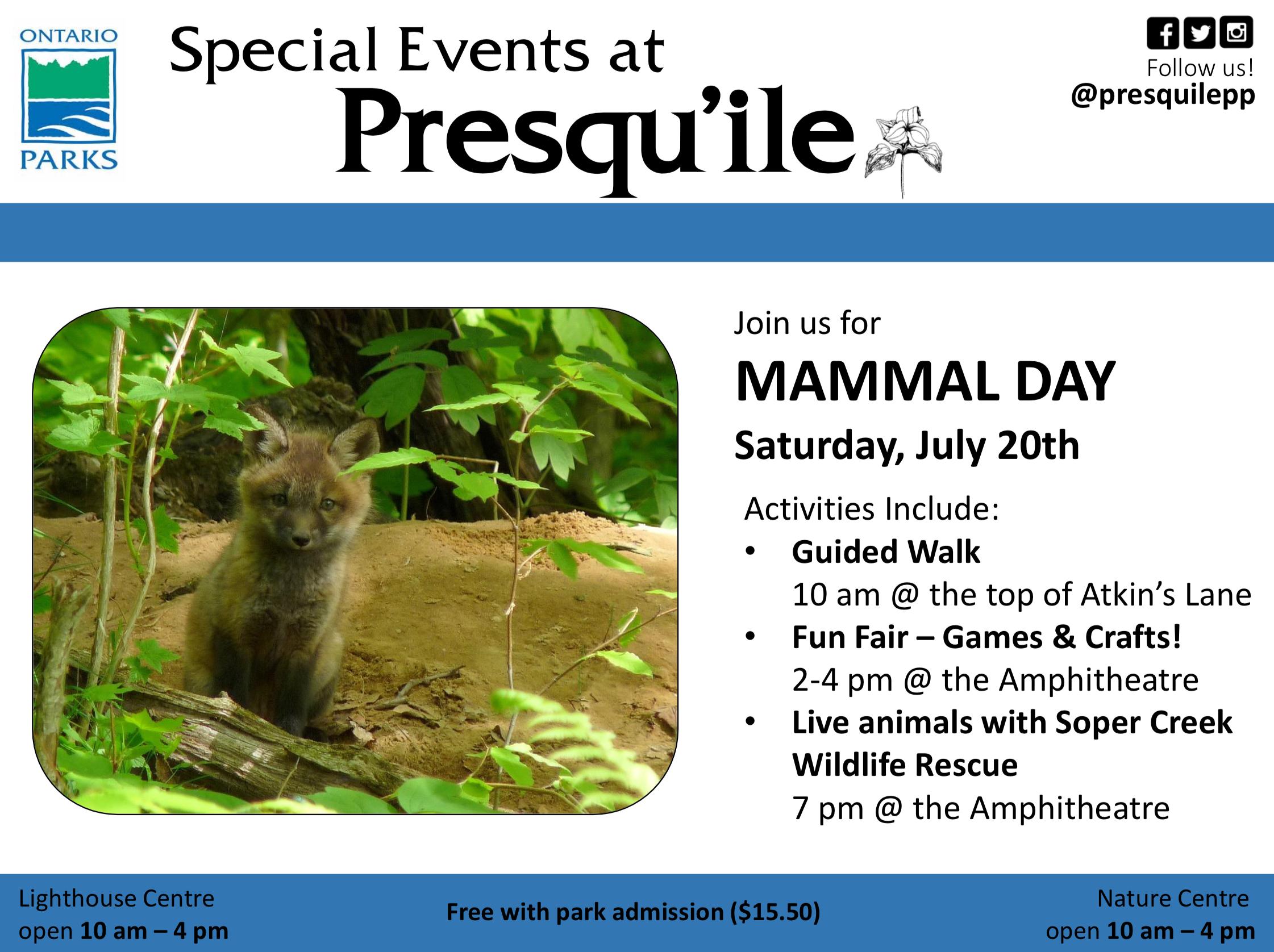 Mammal Day at Presqu'ile Schedule