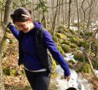 Jessica Spooner on a path experiencing the benefits of being outside.