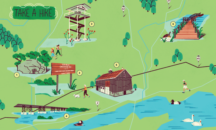Illustrated map of where to take a hike in the bay of quinte.