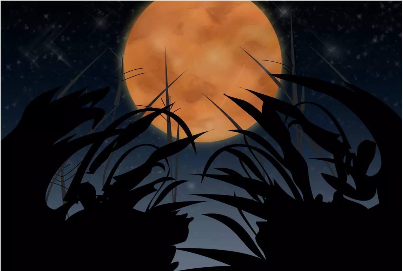 Harvest Moon in the night sky